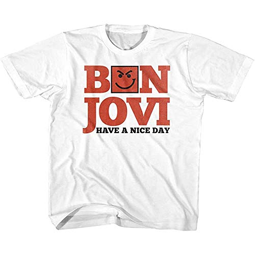 pkomlbef Bon Jovi Rock Band Have A Nice Day White Toddler T Shirt For Men Hombres Short Sleeve tee Size S