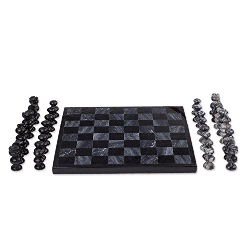 NOVICA Decorative Hand Carved Marble Chess Set, Grey and Black, Sophisticate'