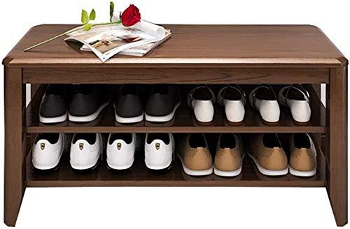 XINKONG Zapato Banco de Almacenaje de 2 estantes Estante Ajustable sólido Banco de Madera del Zapato Portal, Sala de Estar, Dormitorio 150 kg Cabina de almacenaje de la Carga de Peso