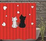 JOVEGSRVA Cortinas de ducha para gatos de dibujos animados impermeables para baño con 12 ganchos de 180 x 180 cm