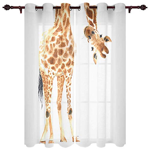 Fandim Fly Grommet Window Curtain Wild Animal Watercolor Giraffe Window Curtains Draperies for Bedroom and Living Room 40 x 84 Inch, Set of 2 Panels
