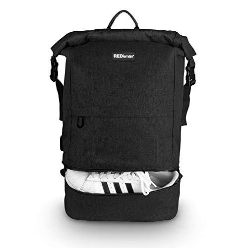 """RedLemon Mochila Antirrobo Backpack Roll Top Impermeable, Expandible, Compartimento Multiusos y para Laptop de 15"""" y Tablet, con Puerto USB, Resistente, para Viajes y Campamentos. Negro"""