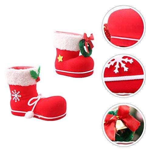 Wakauto 2 Piezas Titular de Caramelo de Navidad Botas de Navidad Adornos Chimenea Regalo Medias para Fiesta de Navidad Niños Botas de Navidad Caja de Regalo