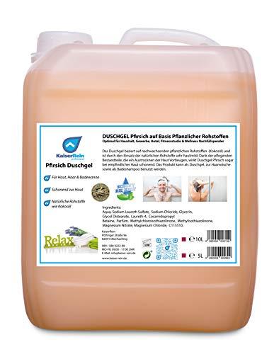 KaiserRein Duschgel - Shampoo - Badezusatz mit Pfirsich-Duft 5L Kanister Nachfüller Nachfüllpack, Nachfüllbeutel für Frauen - Damen und Männer - Herren