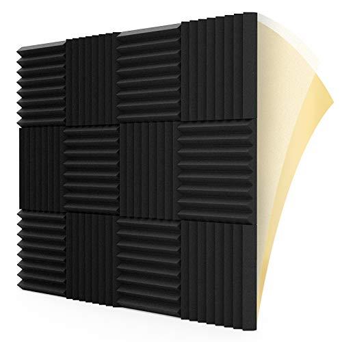 "LEIYER 12 Pack Self-adhesive Sound Proof Foam Panels, 1.5"" X 12"" X 12"", Acoustic Foam Panels with High Density,Soundproof Foam Panels for Decreasing Noise and Echoes, Studio Foam for Indoor (Black)"