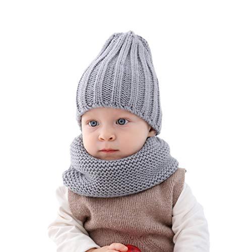 Ever Fairy Kinder schöne weiche Häkelarbeit Stricken Hut Schal Herbst und Winter warm Kleinkind Baby zweiteiliges Set (Grau)