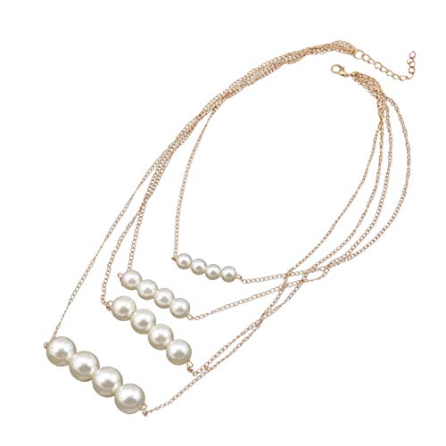 GUYAQ Pearl Necklace Imitation Pearl Long Chain Necklace Charming Elegant Women Girls Choker Necklace Accessories Vintage Costume Wedding Pearl Clavicle Chain