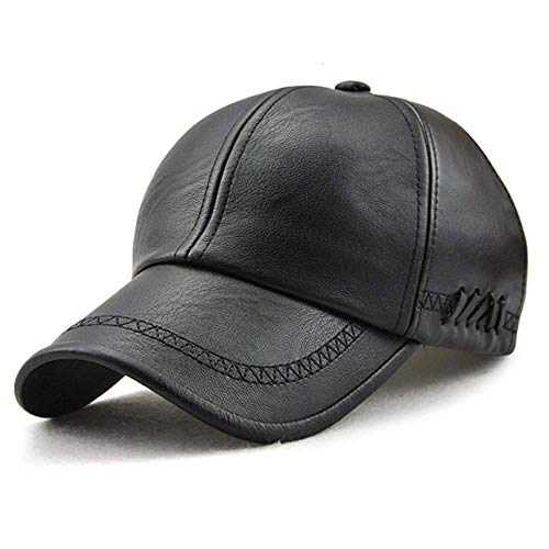 Unisex Leather Baseball Cap, Men Adjustable Structured PU Classic Baseball Cap Hat,Winter for Elderly Father (Black)