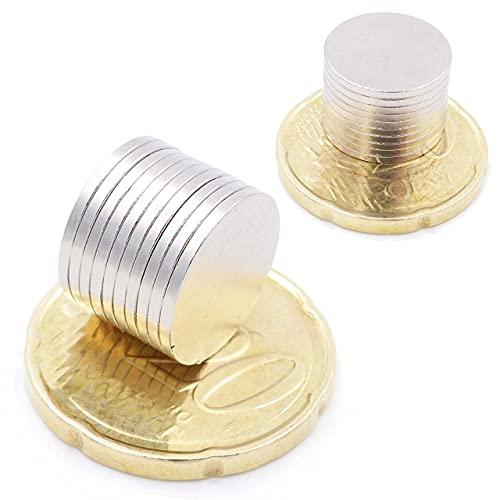 Brudazon | 50 Mini Imanes Discos 13x1mm | N52 Nivel más Fuerte - Los imanes de neodimio Ultra Fuertes | Imán del Poder para la Toma de Modelo, Foto, Pizarra Blanca | Pequeño, Redondo y Extra Fuerte