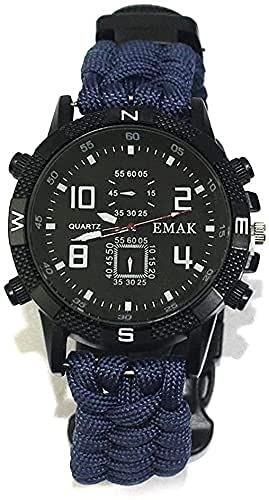 HTDHS Reloj Militares para Hombres Reloj de Pulsera Impermeable DIRIGIÓ Reloj de Cuarzo Reloj Deportivo al Aire Libre Termómetro de brújula Reloj de Emergencia