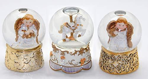 23056173 Schneekugel 3er Set Engel auf Schriftrolle in weiß und Gold, Durchmesser 45mm Luftblase