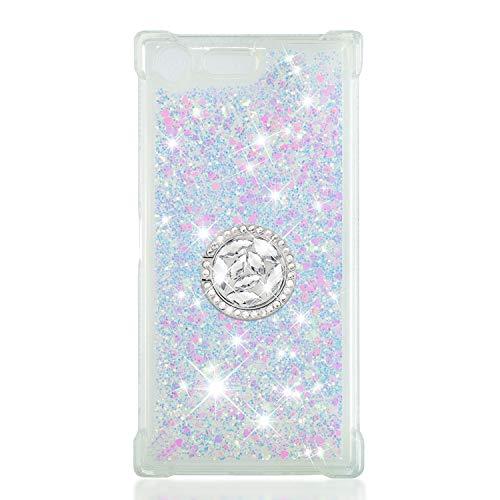 FAWUMAN Coque pour Sony Xperia XZ Premium / G8142,Brillante Cristal Diamant Anneau Socle de téléphone Liquide Dégradé Transparente Silicone TPU Étui Antichoc Coques (Couleur)