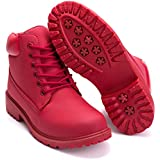 DADAWEN Women's Lace Up Low Heel Work Combat Boots Waterproof Ankle Bootie Red US Size 8.5