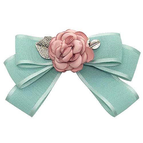 Rosa Flor Broche Pin Tela Tela Corbata Cinta Verde Broche Pajarita Blusa Collar Aguja Ropa Mujer Vestido