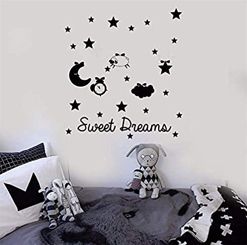 Wall Vinyl Decal Home Decor - Art Sticker Quote Words Lettering Sweet Dreams Star Moon Sheep Cloud Nursery Kids - Home Room Removable Mural HDS12178