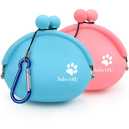 Select4U Silicone Dog Treat Pouch Small Reusable Dog Training Bag Treat Pouch, Set of 2 Small Dog Snack Pouch/Coin Purse/Key Case, Silicone Coin Pouch Small