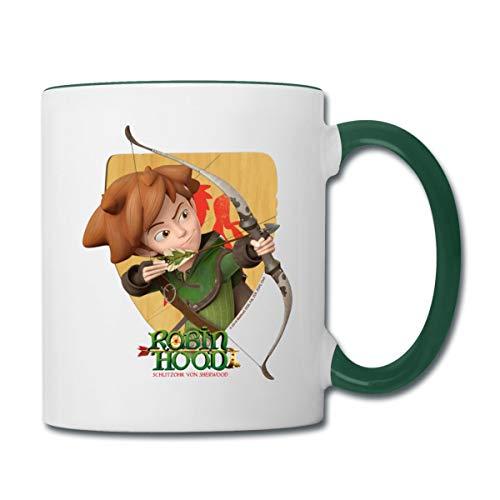 Robin Hood Schießt Mit Seinem Bogen Tasse zweifarbig, Weiß/Dunkelgrün