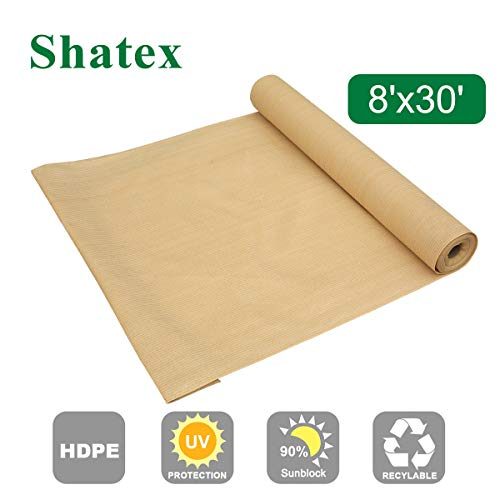 Shatex Shade Cloth Block 90% of UV Rays for Pergola/Greenhouses/Carport/Porch 8x30ft Beige