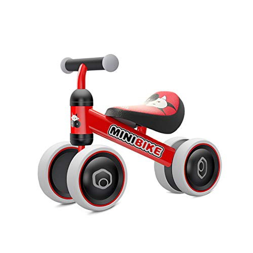 YGJT Biciclette Senza Pedali per Bambini 1 Anno (10-18 Mesi) Tricicli Neonati Corridori Giocattoli Regali per Bambini Bicicletta Senza Pedali Bambino (Mucca Rossa)