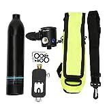 Focket Mini Bombola da Sub, Bombola da Ossigeno Portatile da 0,5 Litri Bombola di Ossigeno Respiratore Subacqueo Bombola da Sub Bombola per Snorkeling con Adattatore per Immersione(Nero)