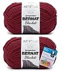 Bernat Blanket Yarn - Big Ball (10.5 oz) - Crimson - 2 Pack Bundle with Bella's Crafts Stitch Markers