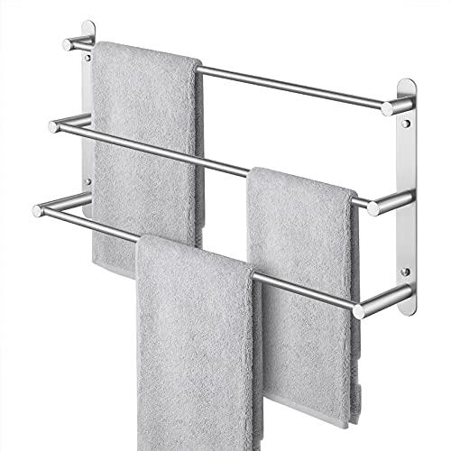 KES Handtuchhalter Handtuchstange Handtuchregal mit 3 Handtuchstangen SUS304 Edelstahl Bad Badetuchhalter Aufbewahrung 60CM Wandmontage Gebürstet, BTH202S60-2