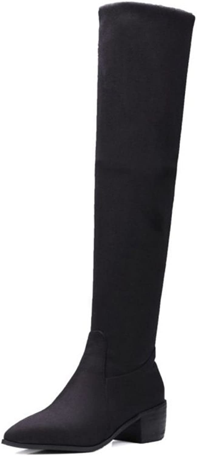 Smilice Large Size & Small Size Women Fashion Over The Knee High Boots Black