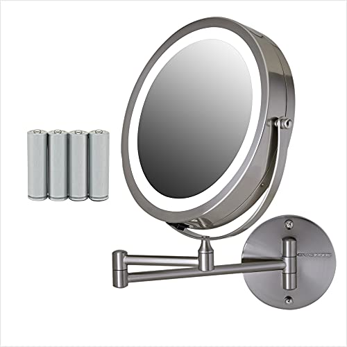 Ovente Wall Mounted Double sided 180 extendable arm Vanity Makeup Mirror 7 Inch 1X with full view 10X Magnification and LED light, 360 Rotation, 4 AAA Battery operated Nickel Brushed MFW70BR1X10X