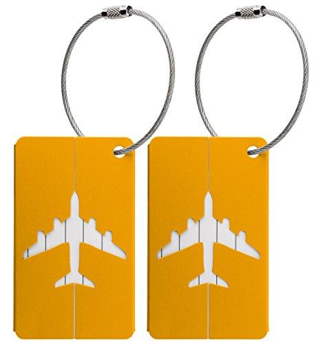 Kofferanhänger aus Metall mit Namensschild und Flug-Motiv 2 Stück (Gold metallic)