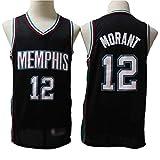 Wo nice Maillots de baloncesto para hombre, Memphis Grizzlies # 12 Ja Morant Retro Baloncesto Uniformes Transpirables Chalecos Casual Deportes Tops Sin Mangas Camisetas, Negro, XXL (185 ~ 190 cm)