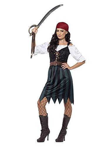 Smiffys 45491M - Damen Piraten Werftarbeiterin Kostüm, Shirt, Weste, Rock, Gürtel und Kopftuch, Größe: 40-42, blau