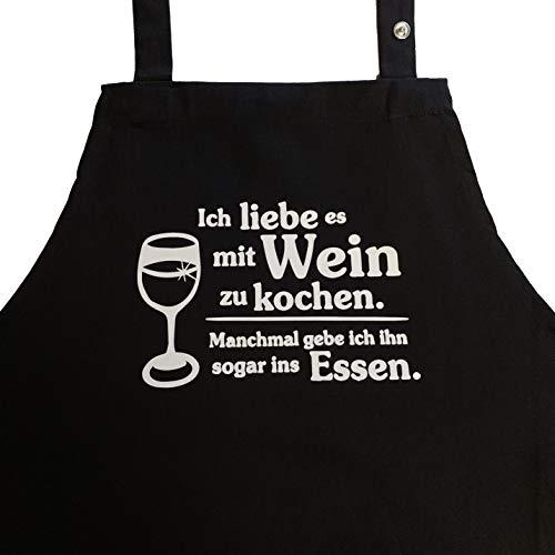 Grillkönig Ich Liebe es mit Wein zu Kochen. Manchmal gebe ich ihn sogar ins Essen. Kochschürze, Latzschürze mit aufgesetzter Seitentasche und verstellbarem Nackenband Geschenk Weinliebhaber (schwarz)
