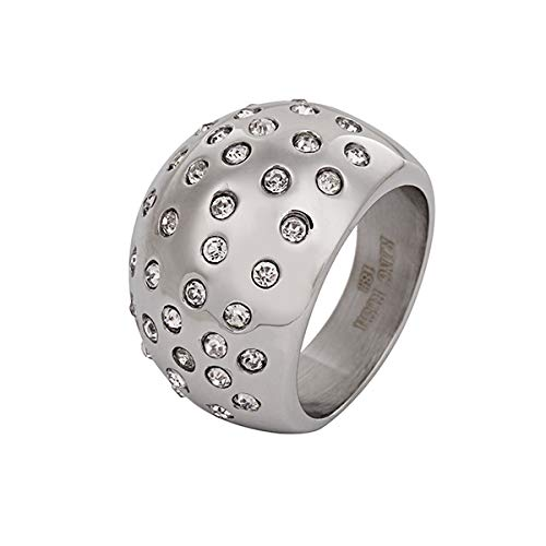 Akkki AKKi, anello in acciaio inossidabile da donna, con cristalli Swarovski, zirconi, da uomo, in argento, per fidanzamento Oro rosa M