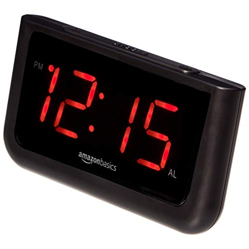 Amazon Basics Digital Alarm Clock with Large 1.4-Inch Display with Battery Backup and LED Display