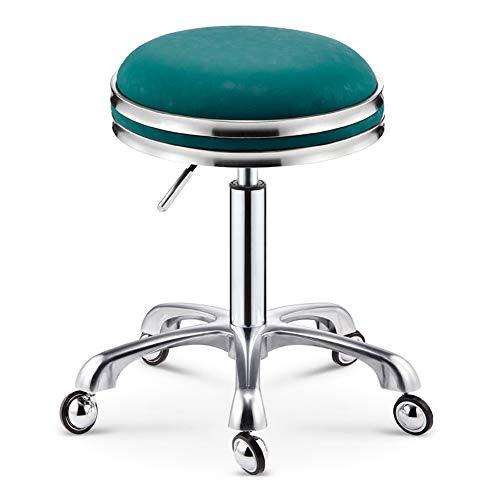 RSTJ-Sjef Rund Rollhocker Stuhl, PU-Leder Höhenverstellbar Spa Stuhl, Rotierender Hydraulischen Stuhl, Arbeit SPA Medizinischer Salon Stuhl Mit Rollen Bürostuhl,Peacock Blue