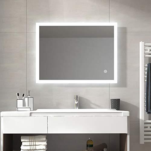 Duschdeluxe LED Badspiegel Lichtspiegel 80x60cm IP44 Badezimmerspiegel Wandspiegel Spiegel mit Beleuchtung kaltweiß mit Touchschalter Eenergiesparend A++