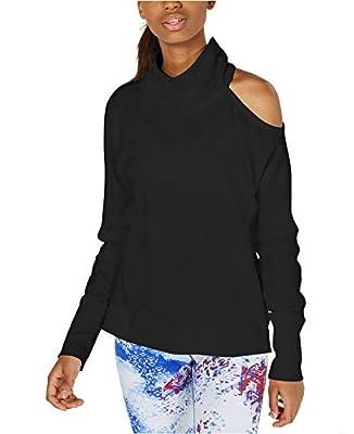 Calvin Klein Women's Performance Mock-Neck Cold-Shoulder Top Black XL