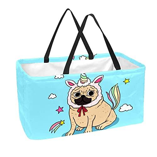 Cesta De Almacenamiento Unicornio Perro Azul Bolsas De Almacenamiento Plegable Organizador De Juguetes Con Asa 56x29x32 cm