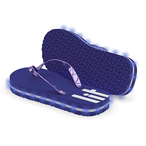 Litflip Light-Up Flip Flop Sandals for Men, Water-Resistant & Sandproof, Multicolor Glowing LED Lights, Double USB Recharging Cable, Trendy Design & Durable Quality Blue