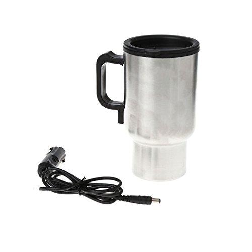 Kcnsieou 12 V Funcion de calor del coche y practica taza de calefaccion de acero inoxidable Viaje Hervidor electrico aislado caliente taza termo