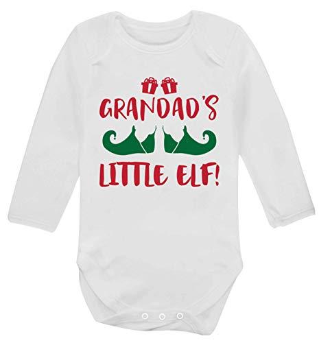 Flox Creative Gilet à Manches Longues pour bébé Grandad's Little Elf - Blanc - Nouveau né