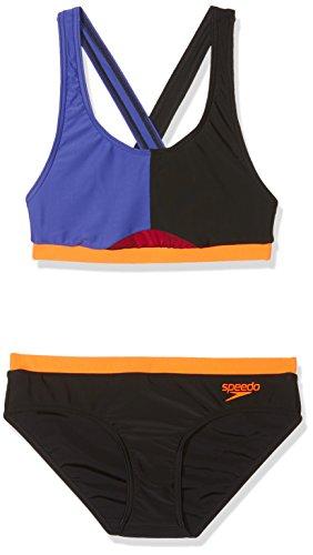 Speedo Hydractive Badpak voor dames, 2 stuks, veelkleurig (zwart/Ultramarine/Fluo Oranje), 30/S