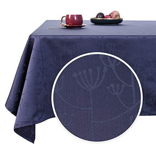 Deconovo Manteles Mesa Cocina Rectangular Antimanchas Moderno Festival para Fiesta 140 x 300 cm Azul Oscuro