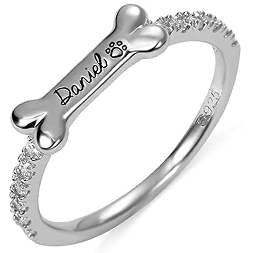 Custom Dog Bone Ring Sterling Silver Personalized Name Ring for Dog Lover - Dog Jewelry Puppy Pet Animal Ring 18K Gold Plated