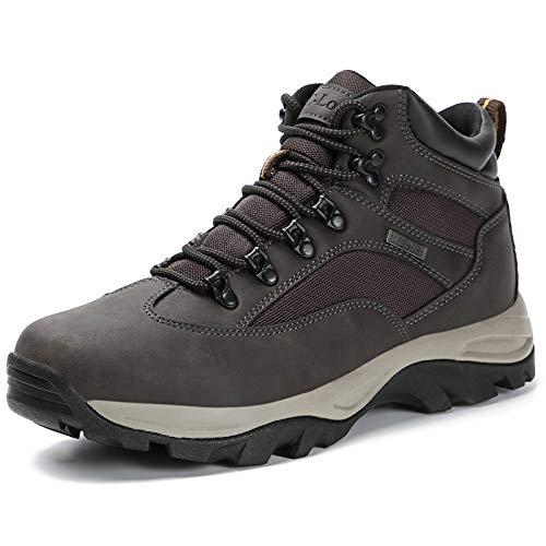 CC-Los Men's Hiking Boots Fully Waterproof Mid Top Rain Boot Shock-Absorbing EVA Casual Outdoor Lightweight Black