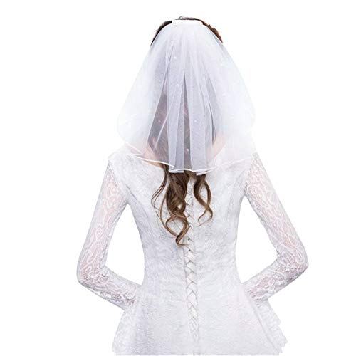 WFSDKN bruidsjurk tule bruidsjurk sluier wit ribbon Edge strass kunstparels Short Bridal Hair Veil Combinatie Bruid Fairy Marriage Accessoires