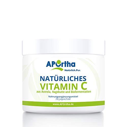 APOrtha natürliches Vitamin C hochdosiert I 250 g Vitamin C Pulver vegan aus Acerola-Extrakt und Hagebutten-Extrakt I hochdosiertes natürliches Vitamin C hergestellt in Deutschland Acerola Vitamin C