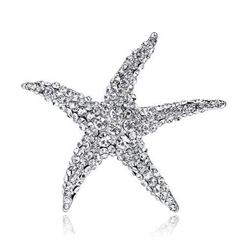 Eiffy Full Crystal Rhinestones Big Starfish Brooch Blue Green Animal Sea Star Brooches for Women Brooch Pin Jewelry Accessories (Silver)