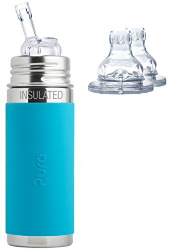 New Pura Kiki Stainless Steel 9 Ounce Vacuum Insulated Bottle with Silicone Straw Plus 2 XL Sipper S...