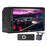 7 Inch Touchscreen Double Din Stereo, Car Radio Audio Receiver with Blueetooth, Backup Camera, Remote Control, Phone Mirror Link, MP5/4/3 Video Player